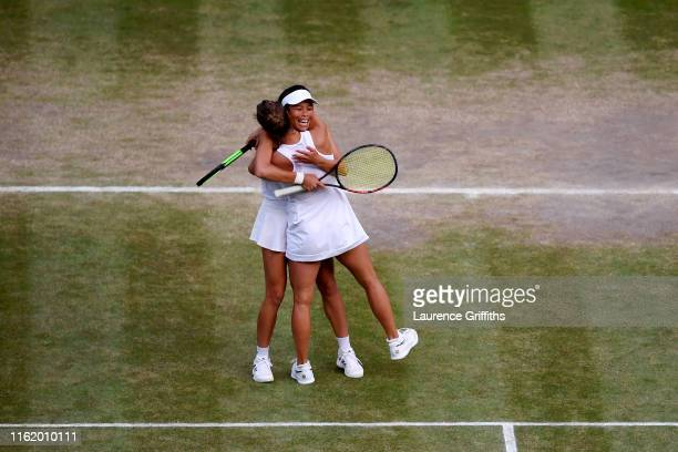 Barbora Strycova of The Czech Republic and playing partner SuWei Hsieh of Taiwan celebrate match point in their Ladies' Doubles final against...