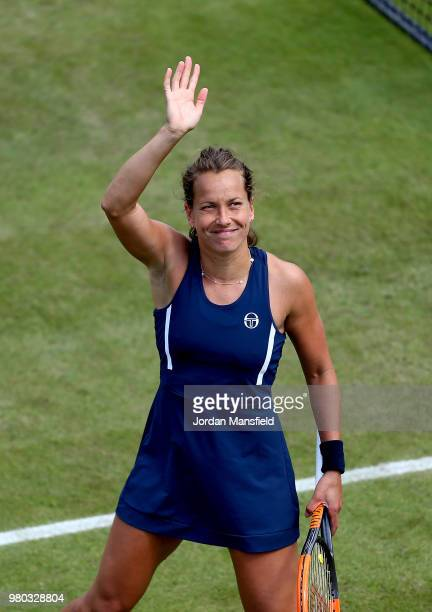 Barbora Strycova of the Czech Republic celebrates victory during her Round of 16 match against Garbine Muguruza of Spain during Day Six of the Nature...