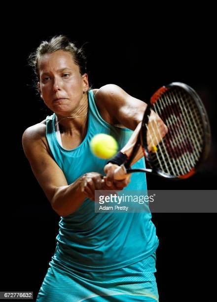 Barbora Strycova of the Czech Republic hits a backhand in her match against Jennifer Brady of the USA during the Porsche Tennis Grand Prix at Porsche...