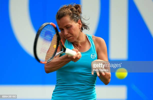 Barbora Strycova of The Czech Republic hits a forehand during the second round match against Ashleigh Barty of Australia on day three of The Aegon...