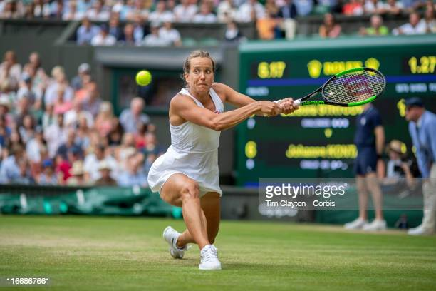 Barbora Strycova of the Czech Republic in action against Johanna Konta of Great Britain in the Ladies Singes Quarter Finals match on Centre Court...