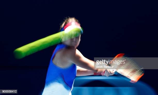 Barbora Strycova of the Czech Republic plays a backhand in her first round match against Kristie Ahn of the United States on day two of the 2018...