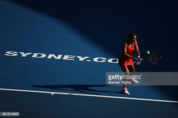 Barbora Strycova of the Czech Republic plays a backhand in her semi final match against Agnieszka Radwanska of Poland during day five of the 2017...