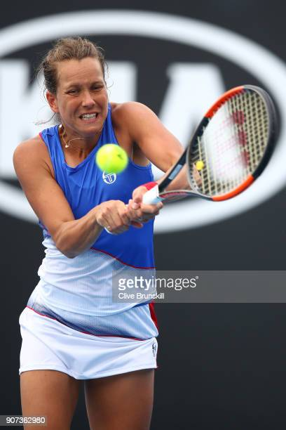Barbora Strycova of the Czech Republic plays a backhand in her third round match against Bernarda Pera of the United States on day six of the 2018...