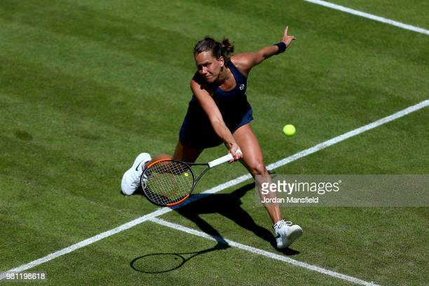 Barbora Strycova of the Czech Republic plays a forehand during her quarterfinal match against Lesia Tsurenko of Ukraine during Day Seven of the...