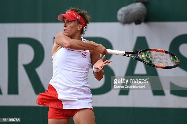 Barbora Strycova of the Czech Republic plays a forehand during the Women's Singles second round match against Polona Hercog of Slovenia on day four...