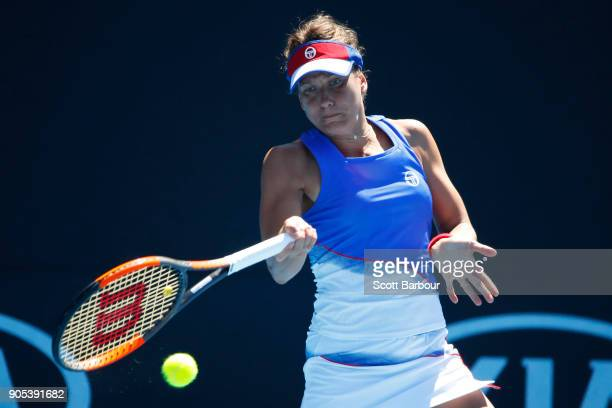 Barbora Strycova of the Czech Republic plays a forehand in her first round match against Kristie Ahn of the United States on day two of the 2018...