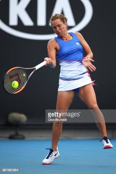 Barbora Strycova of the Czech Republic plays a forehand in her third round match against Bernarda Pera of the United States on day six of the 2018...
