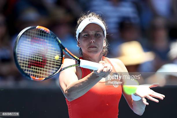 Barbora Strycova of the Czech Republic plays a return against Lauren Davis of the USA during day four of the ASB Classic on January 5 2017 in...