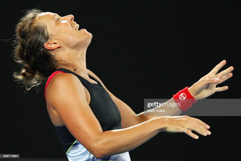 Barbora Strycova of the Czech Republic reacts after a point in her fourth round match against Karolina Pliskova of the Czech Republic on day eight of the 2018 Australian Open at Melbourne Park on January 22, 2018 in Melbourne, Australia.