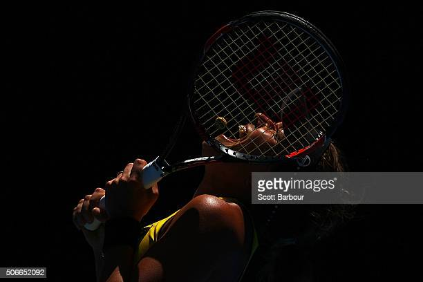 Barbora Strycova of the Czech Republic reacts in her fourth round match against Victoria Azarenka of Belarus during day eight of the 2016 Australian...