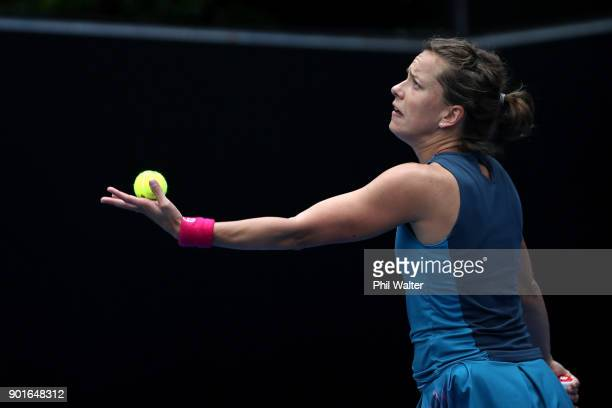 Barbora Strycova of the Czech Republic serves in her quarter final match against SuWei Hsieh of Taiwan during day six of the ASB Women's Classic at...