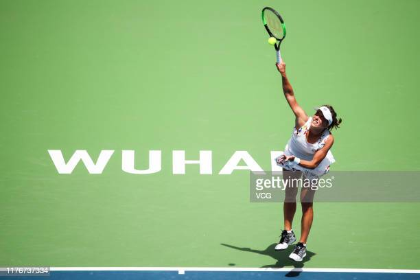 Barbora Strycova of the Czech Republic serves in the second round match against Simona Halep of Romania on Day three of 2019 Dongfeng Motor Wuhan...