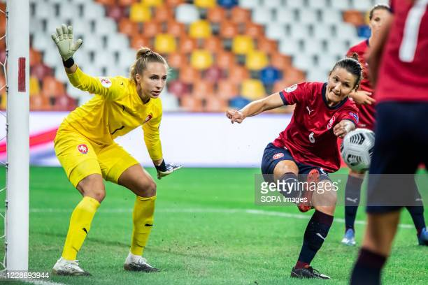 Barbora Votikova and Eva Bartonova of Czech Republic are seen in action during the UEFA Women's EURO 2021 qualifying match between Poland and Czech...