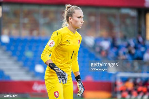 Barbora Votikova of Czech Republic seen in action during the UEFA Women's EURO 2021 qualifying match between Poland and Czech Republic at...