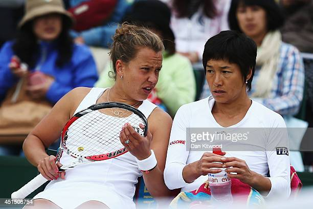 Barbora Zahlavova Strycova of Czech Republic and Kimiko DateKrumm of Japan during their Ladies Doubles Second round match against Ashleigh Barty and...
