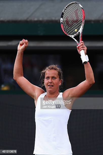 Barbora Zahlavova Strycova of Czech Republic celebrates during her Ladies' Singles third round match against Na Li of China on day five of the...