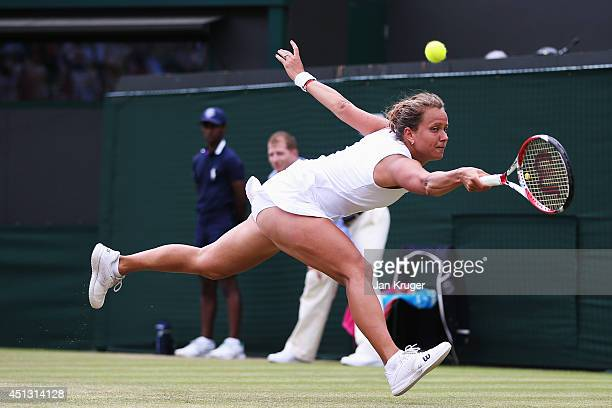 Barbora Zahlavova Strycova of Czech Republic during the Ladies' Singles third round match against Na Li of China on day five of the Wimbledon Lawn...