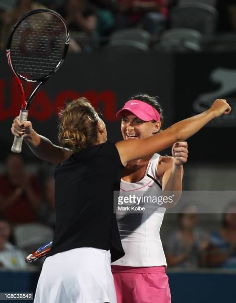 Barbora Zahlavova Strycova of the Czech Republic and Iveta Benesova of the Czech Republic celebrate winning their women's doubles final match against...
