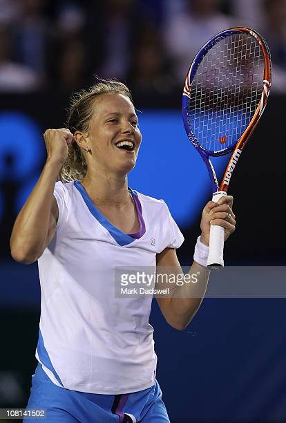 Barbora Zahlavova Strycova of the Czech Republic celebrates winning match point in her second round match against Jelena Dokic of Australia during...