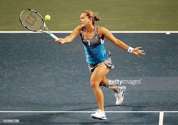 Barbora Zahlavova Strycova of the Czech Republic hits a forehand during her first round match against Roberta Vinci of Italy during day one of the...