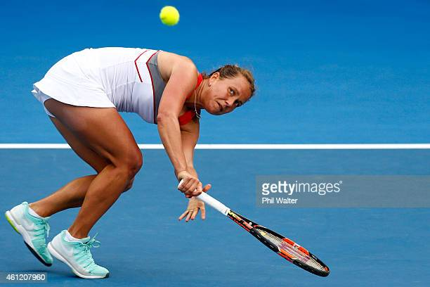 Barbora Zahlavova Strycova of the Czech Republic plays a backhand during her semifinal match against Caroline Wozniacki of Denmark during day five of...