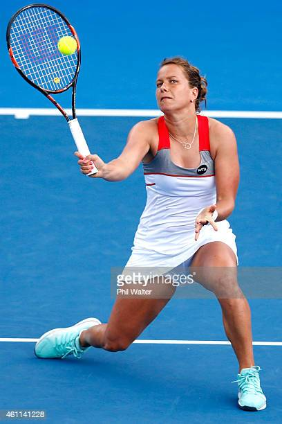 Barbora Zahlavova Strycova of the Czech Republic plays a forehand in her quarterfinal mach against CoCo Vandeweghe of the USA during day four of the...