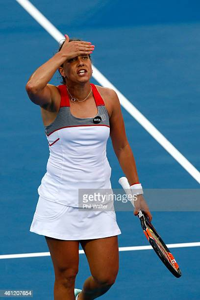 Barbora Zahlavova Strycova of the Czech Republic reacts during her semifinal match against Caroline Wozniacki of Denmark during day five of the 2015...