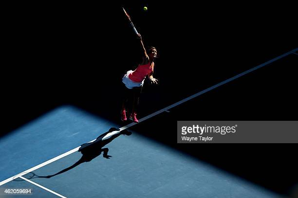 Barbora Zahlavova Strycova of the Czech Republic serves in her third round match against Victoria Azarenka of Belarus during day six of the 2015...
