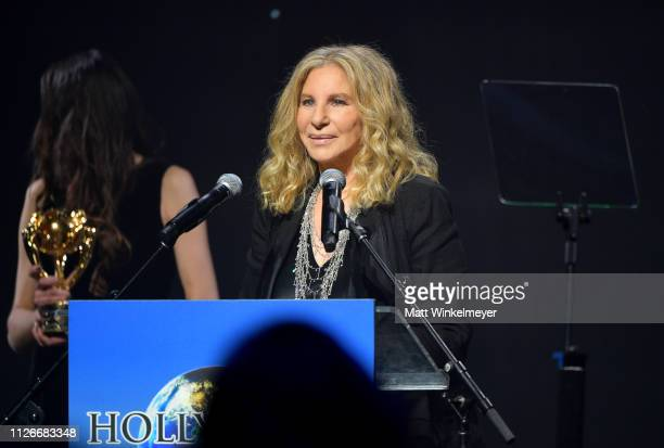 Barbra Streisand accepts her award onstage at the UCLA IoES honors Barbra Streisand and Gisele Bundchen at the 2019 Hollywood for Science Gala on...