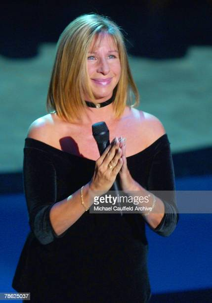Barbra Streisand acknowledges applause after singing 'You'll Never Walk Alone' to close the 53rd Annual Primetime Emmy Award Show