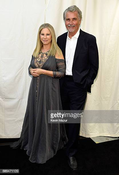 Barbra Streisand and James Brolin pose backstage during the tour opener for Barbra The Music The Mem'ries The Magic at Staples Center on August 2...