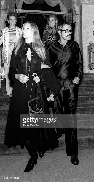 Barbra Streisand and Joe Eula attend Valentino Fashion Party on September 27 1970 at the Pierre Hotel in New York City