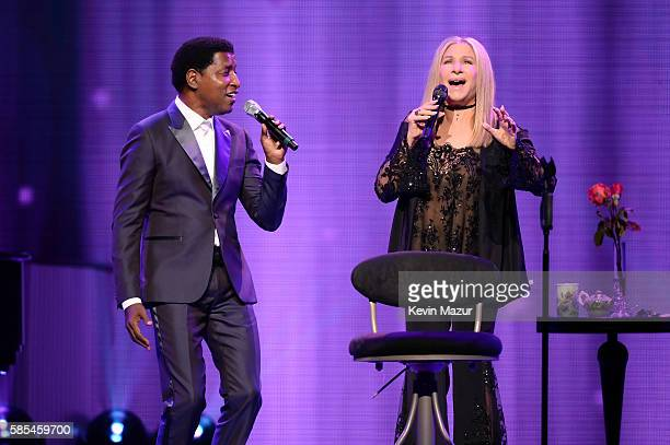 Barbra Streisand and Kenneth 'Babyface' Edmonds perform onstage during the tour opener for 'Barbra The Music The Mem'ries The Magic' at Staples...