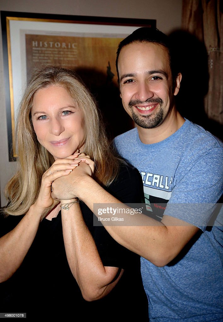 Barbra Streisand and Lin-Manuel Miranda pose backstage at the hit musical 'Hamilton' on Broadway at The Richard Rogers Theater on November 19, 2015 in New York City.