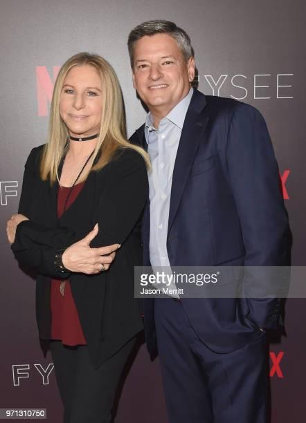 Barbra Streisand and Netflix CCO Ted Sarandos attend Barbra Streisand And Jamie Foxx In Conversation At Netflix's FYSEE at Raleigh Studios on June 10...