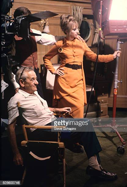 Barbra Streisand and William Wyler during the filming of Funny Girl