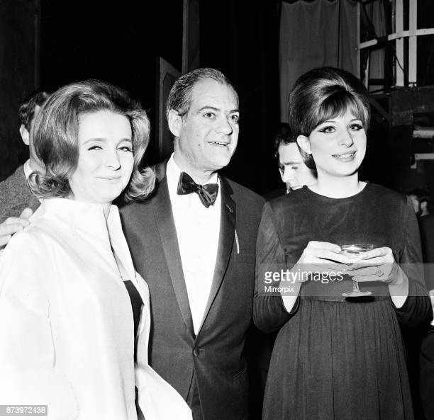 Barbra Streisand, Champagne reception, after West End premiere of Funny Girl, Prince of Wales Theatre, London, 13th April 1966. Pictured with...