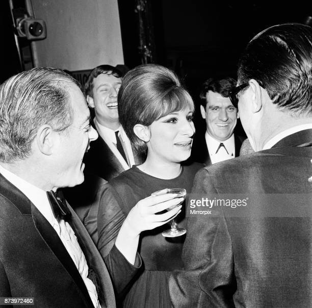 Barbra Streisand, Champagne reception, after West End premiere of Funny Girl, Prince of Wales Theatre, London, 13th April 1966.