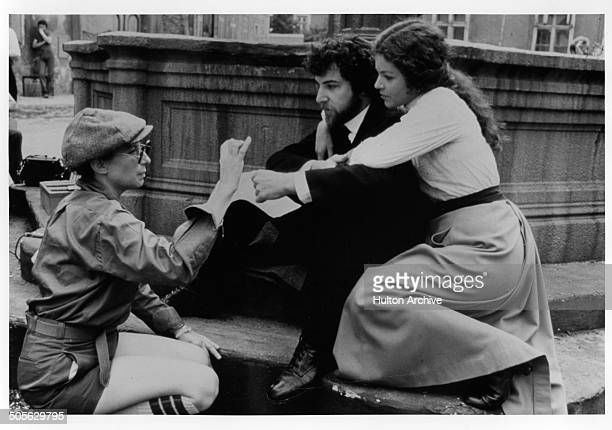 Barbra Streisand directs Mandy Patinkin and Amy Irving in a scene in the movie Yentl circa 1983