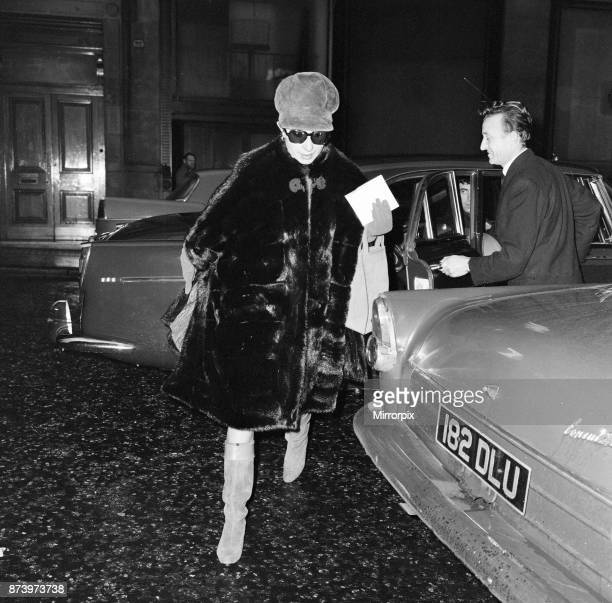 Barbra Streisand, exits car to make her way to stage door entrance at Prince of Wales Theatre, London, where she is starring in Funny Girl, 18th...