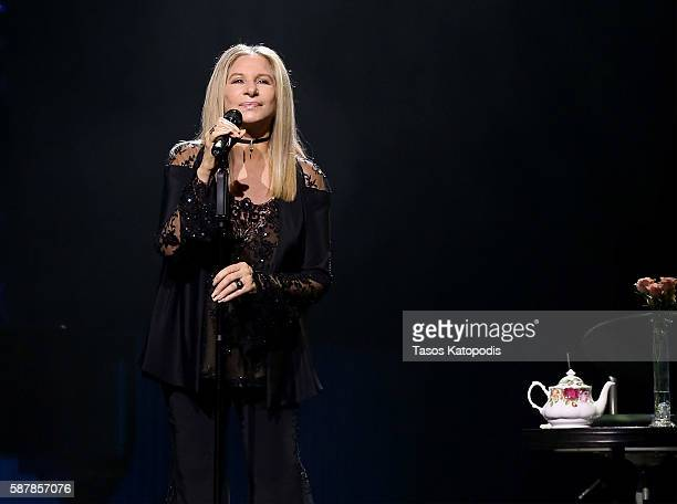 Barbra Streisand performs on stage during the Barbra The Music The Mem'ries The Magic Tour at United Center on August 9 2016 in Chicago Illinois