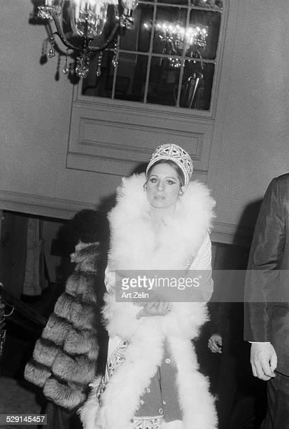 Barbra Streisand wearing a fur trimmed coat circa 1970 New York
