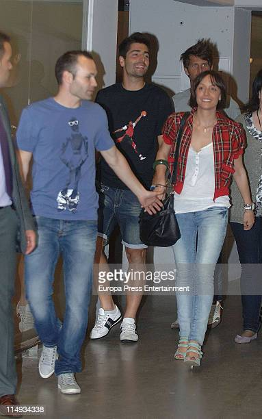 Barca football player Andres Iniesta and his wife Ana Ortiz attend Shakira's concert at the Lluis Campanys Olympic Stadium on May 29 2011 in...