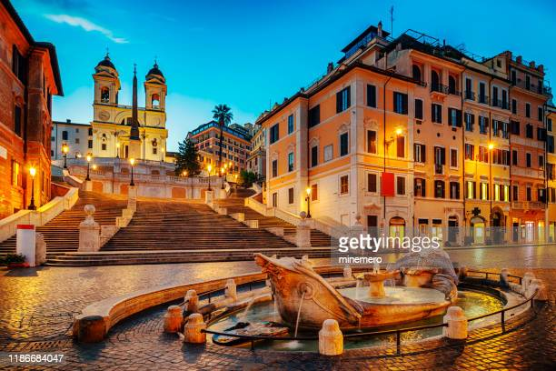 barcaccia fountain in the spanish steps - rome stock pictures, royalty-free photos & images