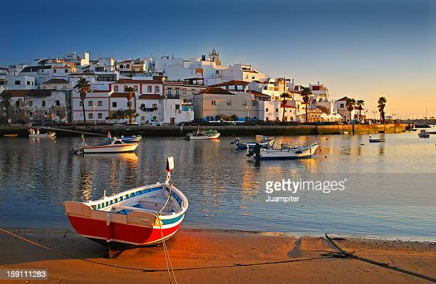 barcas en ferragudo - algarve stock photos and pictures