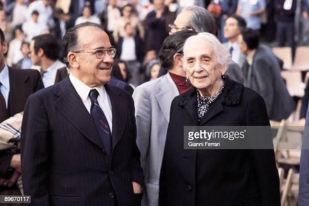 Barcelona 1978 The communist deputie Dolores Ibarruri ´La Pasionaria´ with Santiago Carrillo Spanish Communist Party General Secretary in a political...