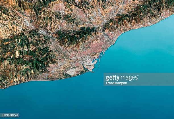 barcelona 3d render satellite view topographic map horizontal - frank ramspott stock pictures, royalty-free photos & images
