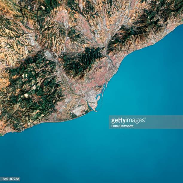 barcelona 3d render satellite view topographic map - frank ramspott stock pictures, royalty-free photos & images