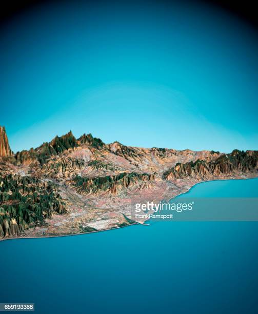 barcelona 3d render satellite view topographic map vertical - frank ramspott stock pictures, royalty-free photos & images